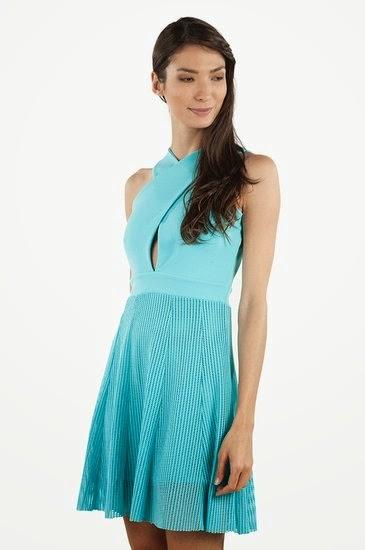 moda verão vestido azul celeste